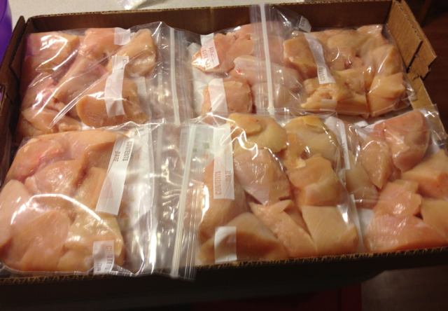 Packaging 40 LBS of chicken for the freezer