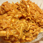 Shredded chicken with home made barbecue sauce. Great for pulling out of the freezer and making delicious, quick meals.