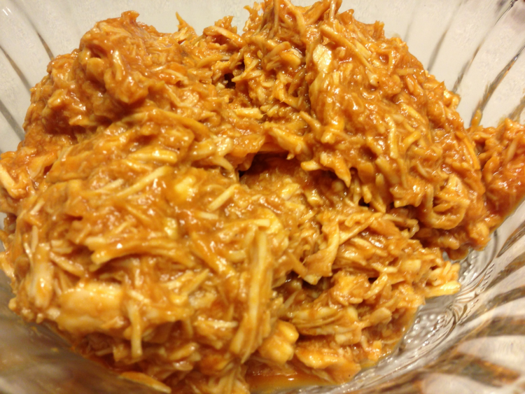 Shredded chicken with homemade barbecue sauce. Great for quick, delicious meals from the freezer!