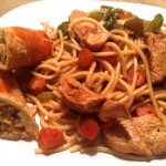 Chicken Lo Mein with Egg Rolls