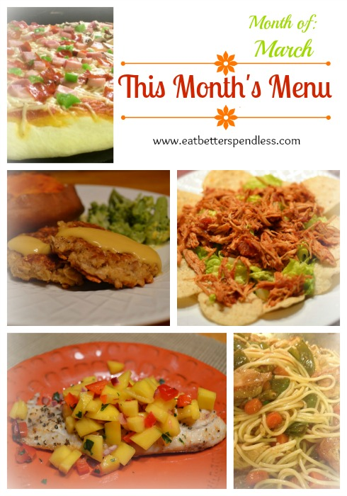 This Month's Meal Plan; Healthy, quick meals for the month of March