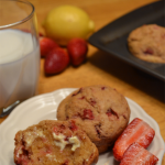 Strawberry-Lemon Whole Wheat Muffins; makes a healthy and yummy breakfast or snack.