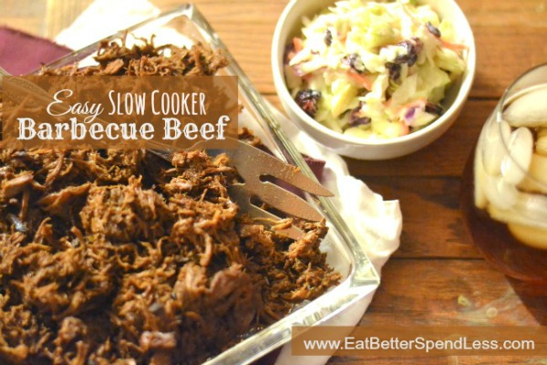 Slow Cooker Barbecue Beef with easy homemade barbecue sauce