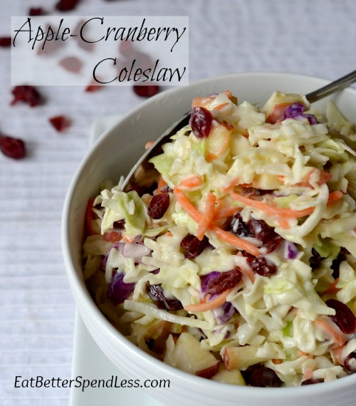 This is my favorite coleslaw to make. It takes just minutes but it's so yummy. The sweet and tart from the apples and cranberries really makes it special. www.eatbetterspendless.com