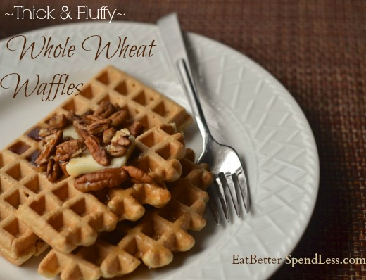 When we switched to whole grains I thought my waffle-eating days were over. But I'm happy to report that I made some healthy tweaks to my long-time favorite waffle recipe and they taste wonderful made with whole wheat!