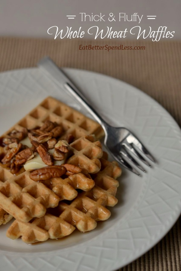 When we switched to whole grains I thought my waffle-eating days were over. But I'm happy to report that I made some healthy tweaks to my long-time favorite waffle recipe and now it's my favorite whole wheat waffle recipe!