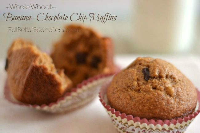 These Whole Wheat Banana Chocolate Chip muffins are worth getting up for. They're my super picky son's favorite!